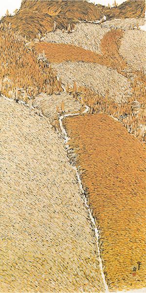 74_황토밭과 백토밭 길_장지,먹,황토,백토,엑스트라갤_70x165cm_2006.jpg
