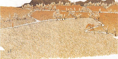63_생명의 땅 황토(나를 찾아오는 길)_장지,먹,황토,백토,엑스트라갤-141x70cm_2006.jpg