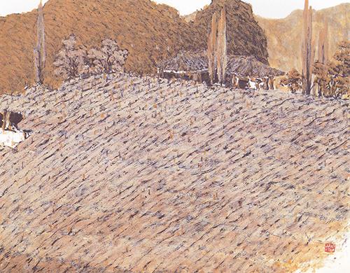 115_생명의 땅 황토(삶이 숨 쉬는 곳)_장지,먹,황토,백토,엑스트라갤_39.5x48.jpg
